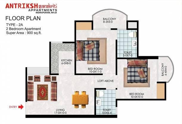 The Antriksh Sanskriti (2BHK+2T (900 sq ft) Apartment 900 sq ft)