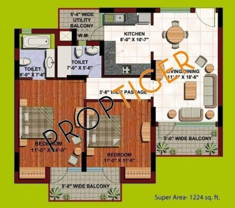 ABA Orange County (2BHK+2T (1,224 sq ft) Apartment 1224 sq ft)
