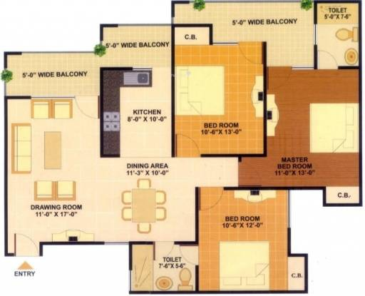JKG Amba G Residency (3BHK+2T (1,665 sq ft) Apartment 1665 sq ft)