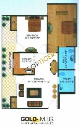 Himalaya Tower (2BHK+2T (1,082 sq ft) Apartment 1082 sq ft)