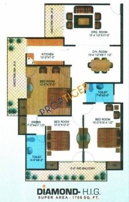Himalaya Tower (3BHK+2T (1,708 sq ft) Apartment 1708 sq ft)