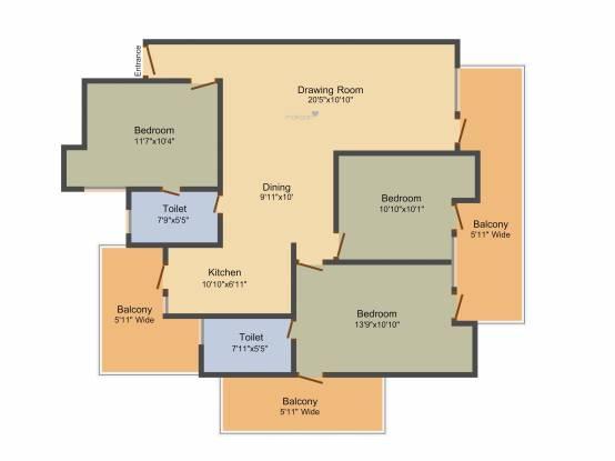 Gulshan GC Centrum (3BHK+2T (1,680 sq ft) Apartment 1680 sq ft)