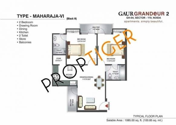 Gaursons Grandeur 2 (2BHK+2T (1,085 sq ft) Apartment 1085 sq ft)
