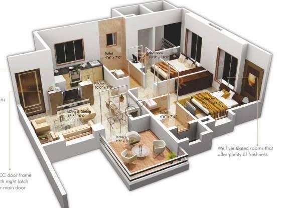 Goel Ganga Ashiyana (2BHK+2T (760 sq ft) Apartment 760 sq ft)