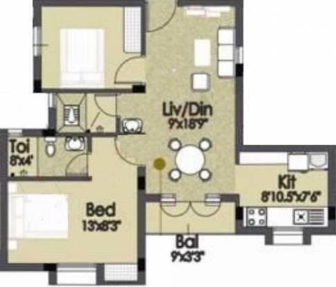 Akshaya Adena (2BHK+2T (950 sq ft) Apartment 950 sq ft)