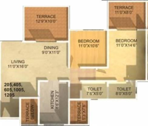 Sonigara Kesar (2BHK+2T (1,180 sq ft) Apartment 1180 sq ft)