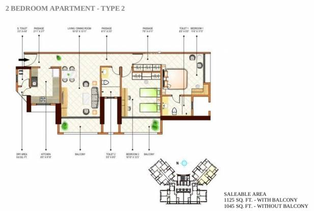 Peninsula Ashok Towers (2BHK+3T (1,125 sq ft) Apartment 1125 sq ft)