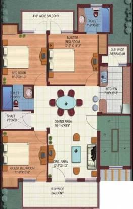 M2K The White House (3BHK+2T (1,355 sq ft) Apartment 1355 sq ft)