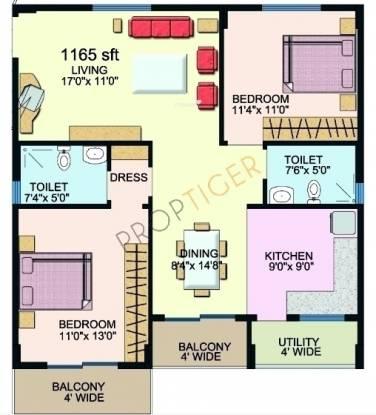 Sumadhura Sawan MTB (2BHK+2T (1,165 sq ft) Apartment 1165 sq ft)