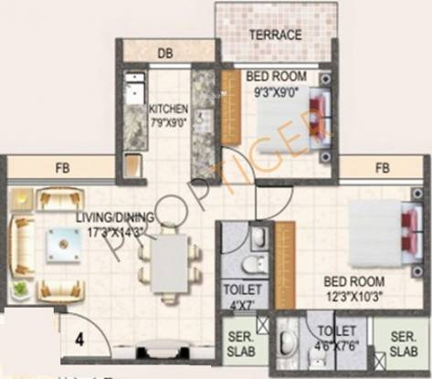 Swaraj Daffodils (2BHK+2T (1,055 sq ft) Apartment 1055 sq ft)