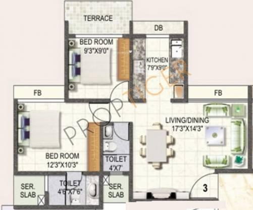 Swaraj Daffodils (2BHK+2T (1,190 sq ft) Apartment 1190 sq ft)