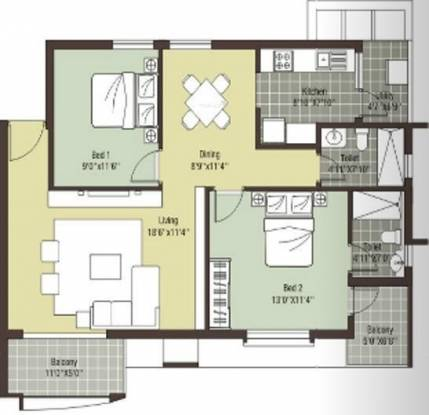 Arihant Escapade (2BHK+2T (1,132 sq ft) Apartment 1132 sq ft)