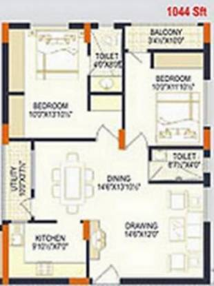 Reliance Reliance Paradise (2BHK+2T (1,044 sq ft) Apartment 1044 sq ft)