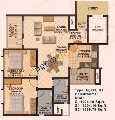 Sobha Sobha Ruby (2BHK+2T (1,204 sq ft) Apartment 1204 sq ft)