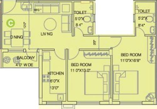 Space Club Town Greens (2BHK+2T (1,098 sq ft) Apartment 1098 sq ft)