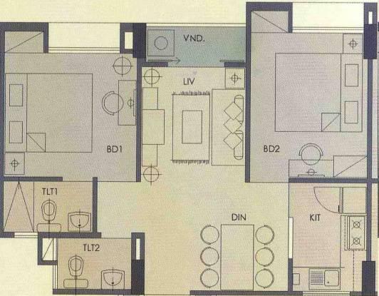 Hiland Woods (2BHK+2T (770 sq ft) Apartment 770 sq ft)