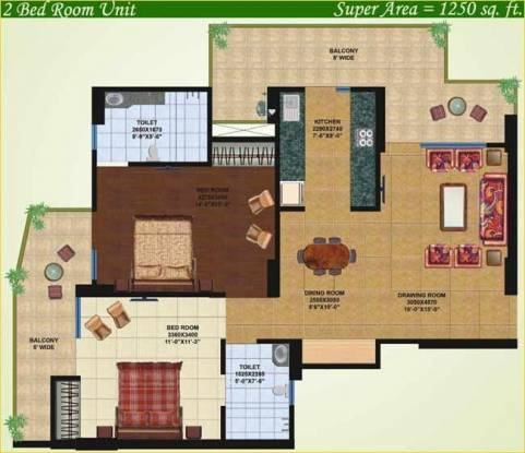 Saviour Greenisle (2BHK+2T (1,250 sq ft) Apartment 1250 sq ft)