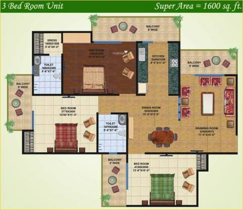 Saviour Greenisle (3BHK+2T (1,600 sq ft) Apartment 1600 sq ft)