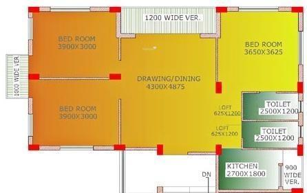 Mayfair Espana (3BHK+2T (1,300 sq ft) Apartment 1300 sq ft)