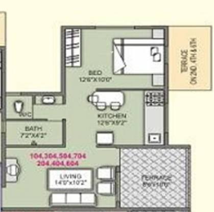 Samruddhi High Bliss (1BHK+1T (664 sq ft) Apartment 664 sq ft)