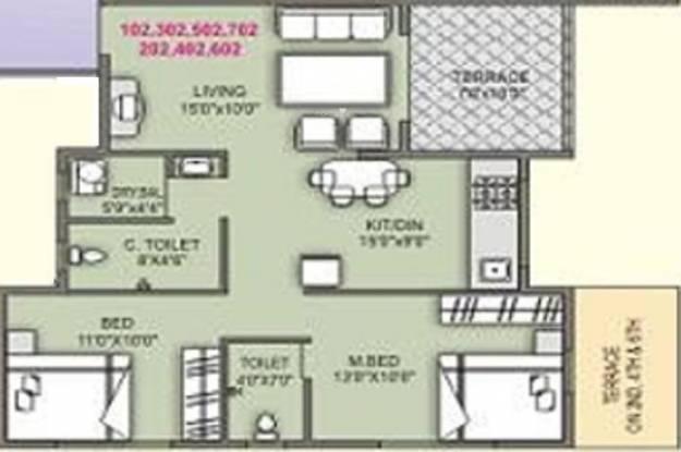 Samruddhi High Bliss (2BHK+2T (907 sq ft) Apartment 907 sq ft)