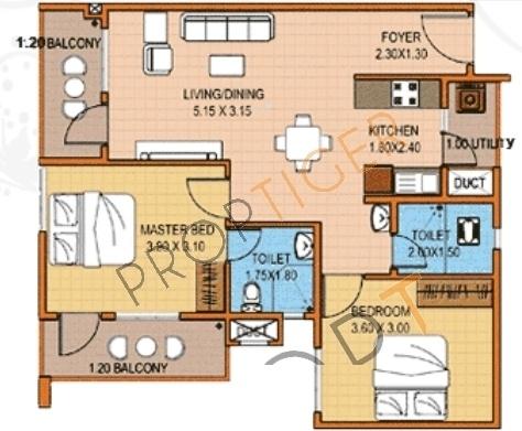 Oceanus Greendale Phase I (2BHK+2T (951 sq ft) Apartment 951 sq ft)