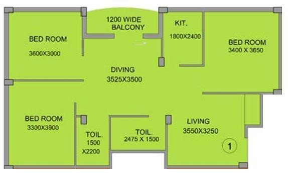 Mayfair Greens (3BHK+2T (1,390 sq ft) Apartment 1390 sq ft)
