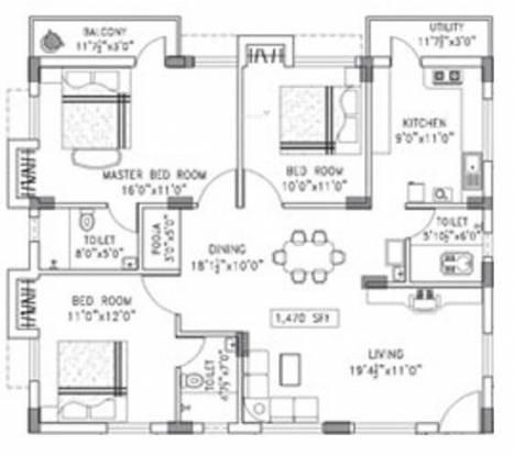 Arun Desh (3BHK+3T (1,470 sq ft)   Pooja Room Apartment 1470 sq ft)