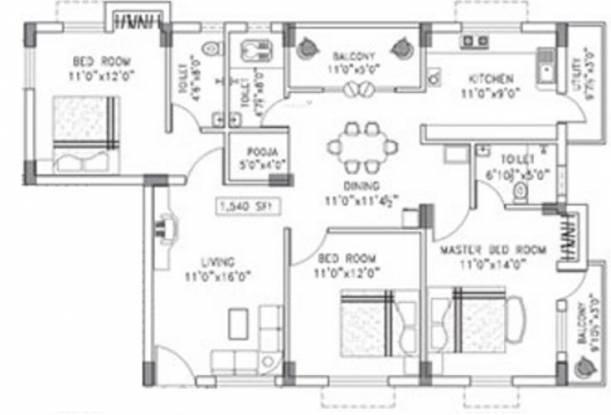 Arun Desh (3BHK+3T (1,540 sq ft)   Pooja Room Apartment 1540 sq ft)