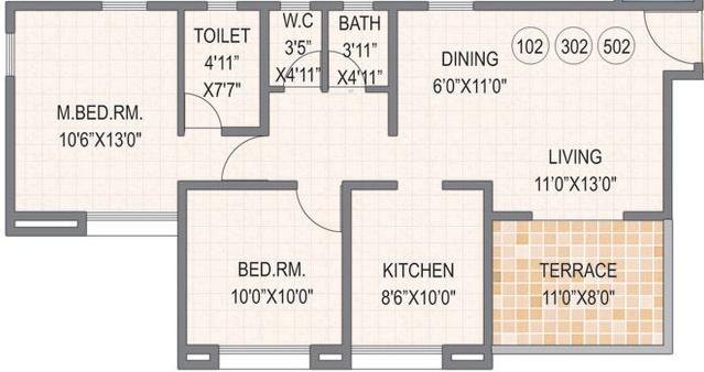 Amit Astonia (2BHK+2T (900 sq ft) Apartment 900 sq ft)