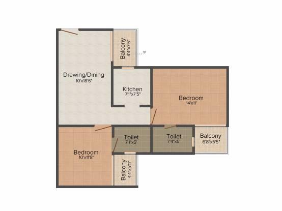 Divine Divine Meadows (2BHK+2T (980 sq ft) Apartment 980 sq ft)