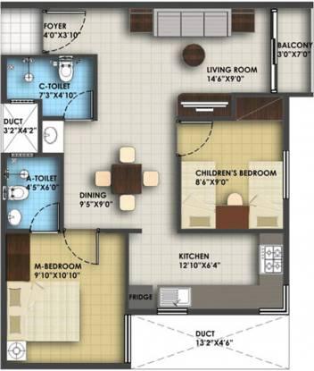 Icon Honey Pool (2BHK+2T (823 sq ft) Apartment 823 sq ft)