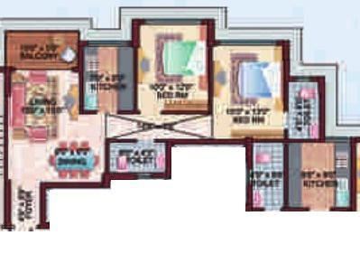 Ideal Lake View (2BHK+2T (1,065 sq ft) Apartment 1065 sq ft)