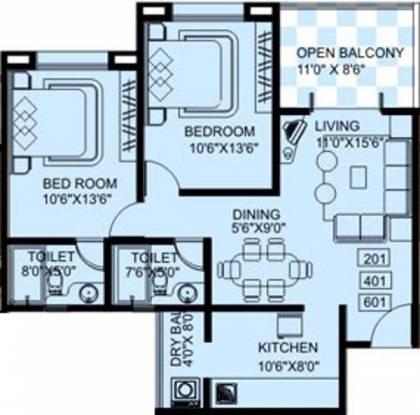 Aswani Rose Garden (2BHK+2T (960 sq ft) Apartment 960 sq ft)