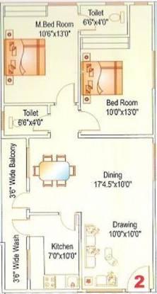 Sai Lake Shore Serenity (2BHK+2T (1,035 sq ft) Apartment 1035 sq ft)
