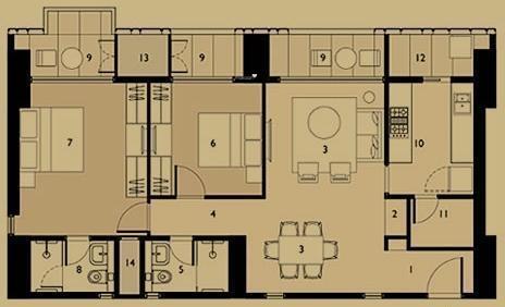 Lodha Dioro (2BHK+2T (1,431 sq ft) Apartment 1431 sq ft)
