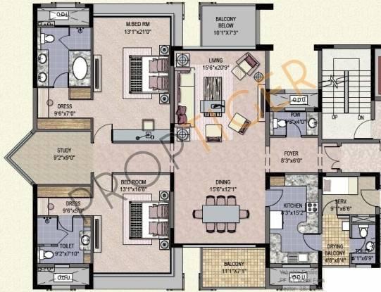 Jaypee Crescent Court (2BHK+2T (2,000 sq ft)   Study Room Apartment 2000 sq ft)