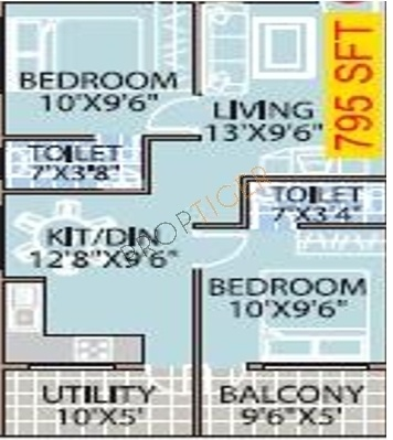 Mahaveer Willow (2BHK+2T (795 sq ft) Apartment 795 sq ft)