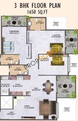 Mirchandani Palms (3BHK+3T (1,650 sq ft) Apartment 1650 sq ft)