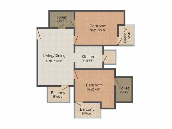 Amrapali Empire (2BHK+2T (1,000 sq ft) + Study Room Apartment 1000 sq ft)