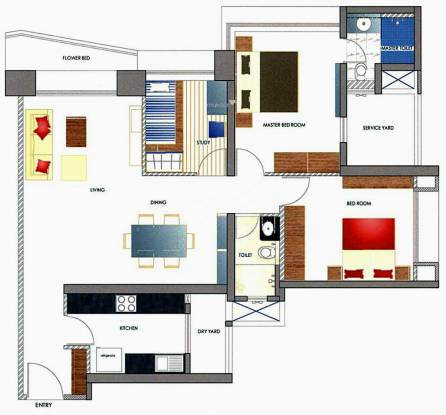 Oberoi Woods (2BHK+2T (1,200 sq ft) + Study Room Apartment 1200 sq ft)