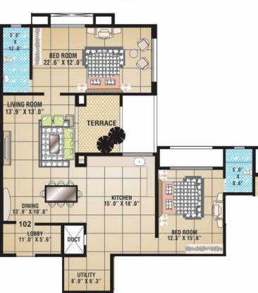 Raviraj Fortaleza (2BHK+2T (1,050 sq ft) Apartment 1050 sq ft)