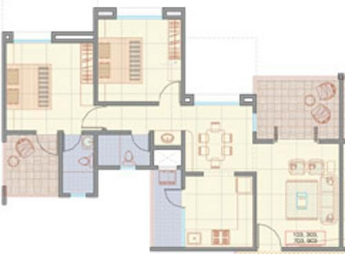 RK R K Spectra (2BHK+2T (1,021 sq ft) Apartment 1021 sq ft)