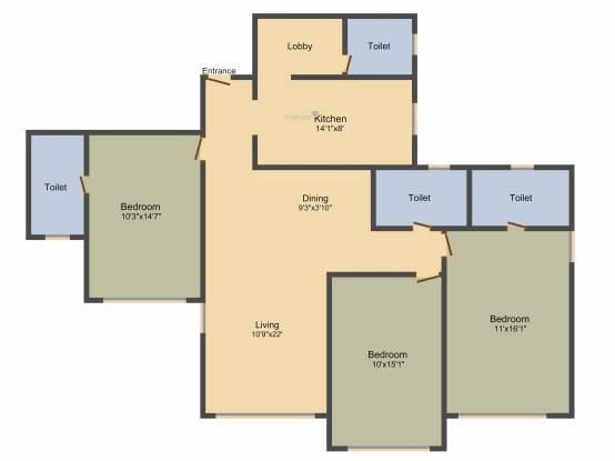 Raheja Classique (3BHK+3T (1,850 sq ft) + Servant Room Apartment 1850 sq ft)
