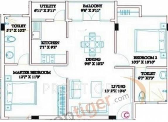 Ramaniyam Clasic Rudhra (2BHK+2T (943 sq ft) Apartment 943 sq ft)