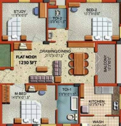 Rajparis Harmony (2BHK+2T (1,230 sq ft)   Study Room Apartment 1230 sq ft)