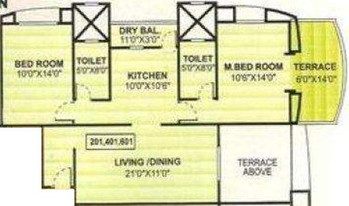 Vijaydeep Deccan Gold (2BHK+2T (1,117 sq ft) Apartment 1117 sq ft)