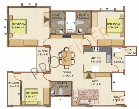 Aratt Divya Jyothi Lake View County (3BHK+3T (1,700 sq ft) Apartment 1700 sq ft)