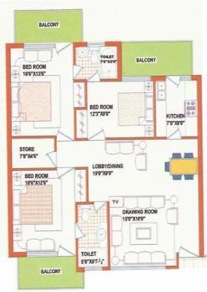Opera Chandigarh Enclave (3BHK+2T (1,275 sq ft) Apartment 1275 sq ft)