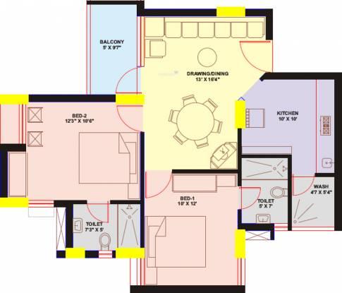 Chaitanya Sunnyvale (2BHK+2T (1,316 sq ft) Apartment 1316 sq ft)